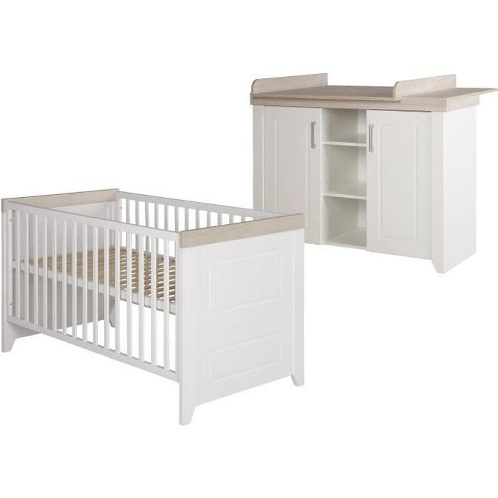 ROBA Ensemble de meubles -Felicia- lit bébé 70x140cm et commode à langer large