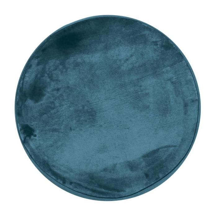 FLANELLE - Tapis rond extra-doux effet velours bleu foncé diam.70
