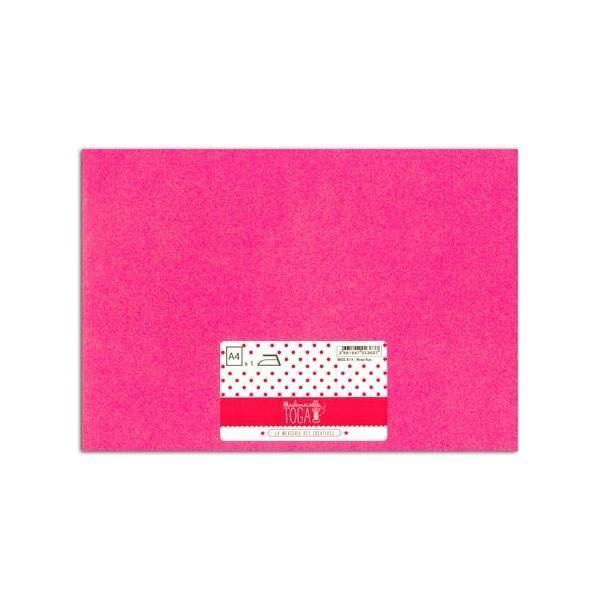 MLLE TOGA Tissu glitter thermocollant - A4 - rose fluo