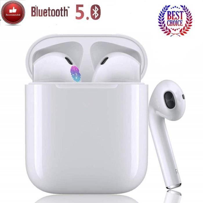 Oreillette Bluetooth sans Fil Tactile,TWS i12 Oreillette Bluetooth IPX6 Impérmeable Casque Bluetooth Ecouteurs Étanche avec Micropho