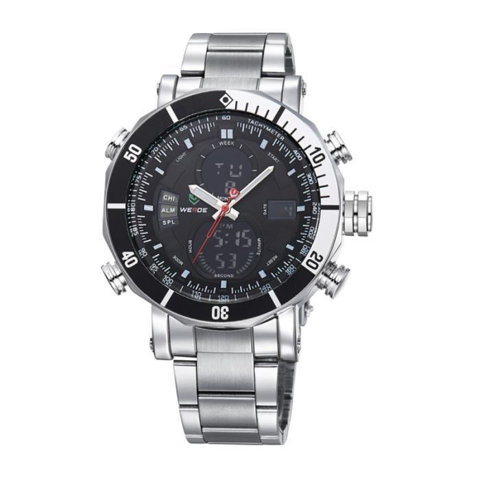 WEIDE WH-5203 Montre-bracelet de sport à affichage numérique pour homme et garçon à DEL, avec quartz, date / MONTRE BRACELET