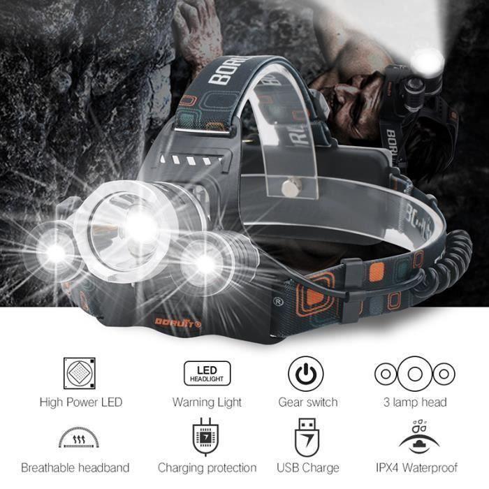 eTakin Lampe Torche Frontale Ampoules LED avec 2pcs 18650 Batteries et USB Câble ET385