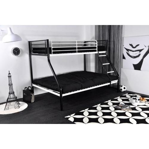 lit superpose jazz noir blanc 90 et 140 cm achat vente lits superpos s cdiscount. Black Bedroom Furniture Sets. Home Design Ideas
