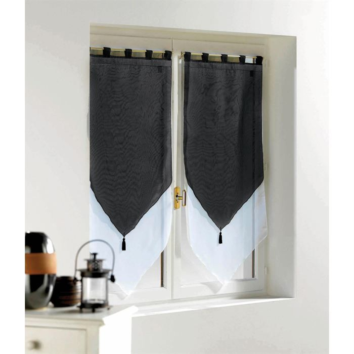2 voilages bicolores pompons 90x60cm blanc noir achat. Black Bedroom Furniture Sets. Home Design Ideas