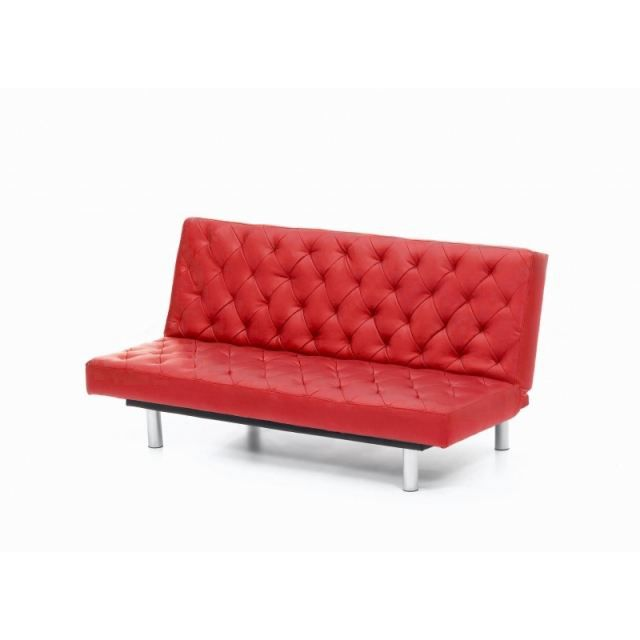banquette lit clic clac london rouge capitonnee achat. Black Bedroom Furniture Sets. Home Design Ideas