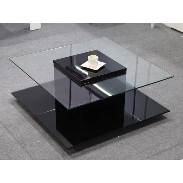 table basse carr e l na avec 2 plateaux en verre noir. Black Bedroom Furniture Sets. Home Design Ideas