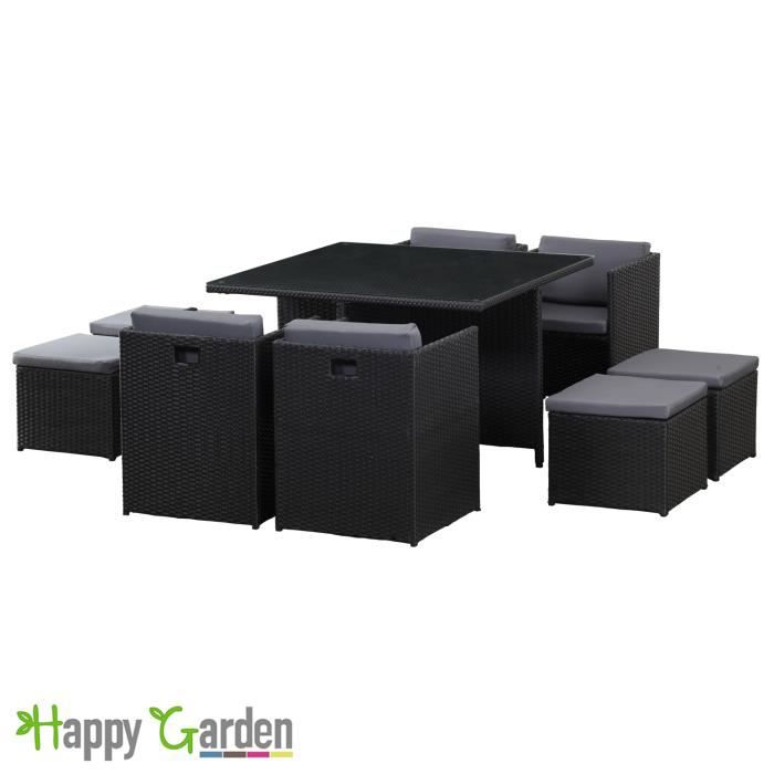 salon de jardin en r sine tress e noir encastrable 8. Black Bedroom Furniture Sets. Home Design Ideas