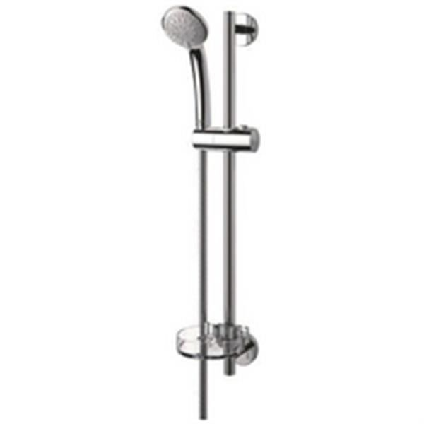 tout en 1/Package Ensemble de douche avec barre coulissante avec porte savon pomme de douche et flexible