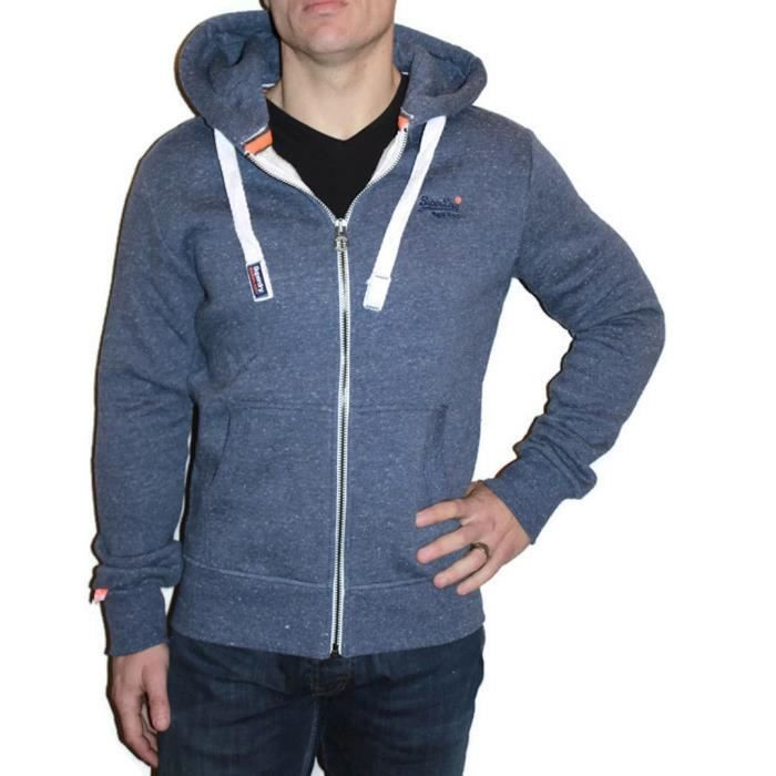 Vente Superdry Achat Modele Bleu Orange Ziphood Label Sweat qnYwd0O0