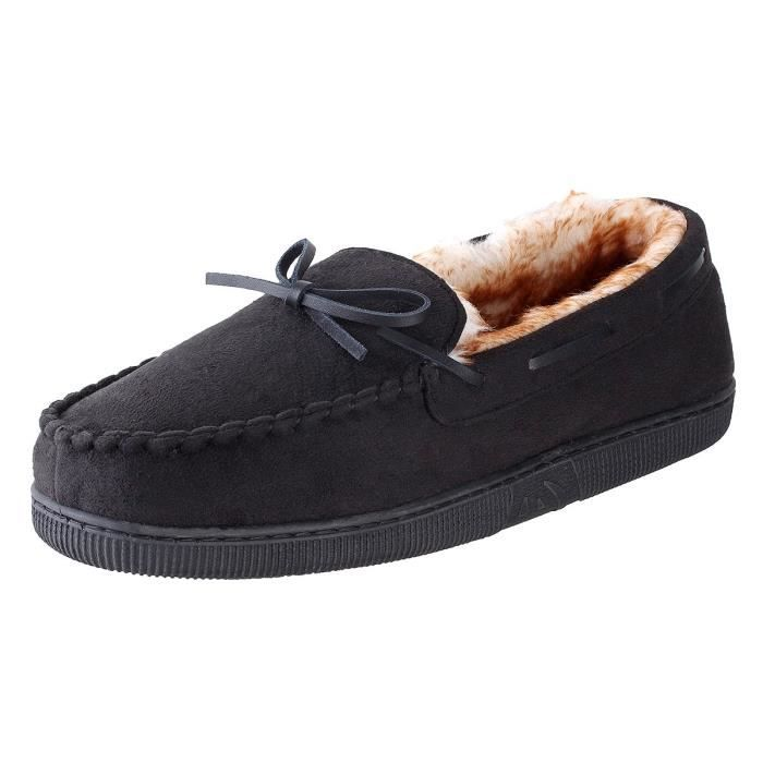 Franklin Moccassin Slippers Mens | Micro-suede | Rubber Sole | Faux Fur Lining | Comfortable IndoorVO3W1 Taille-40 1-2