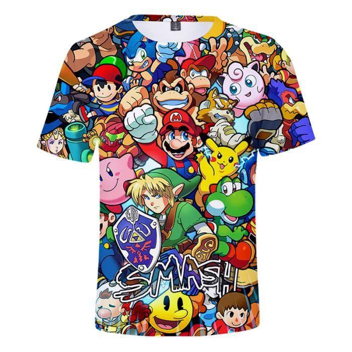 Super Mario T Shirt Hommes De Marque Col Rond Impression