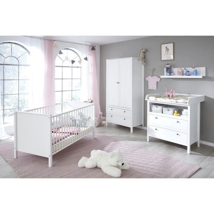 OLE Chambre bébé complète : Lit 9*9cm + Armoire + Commode - blanc