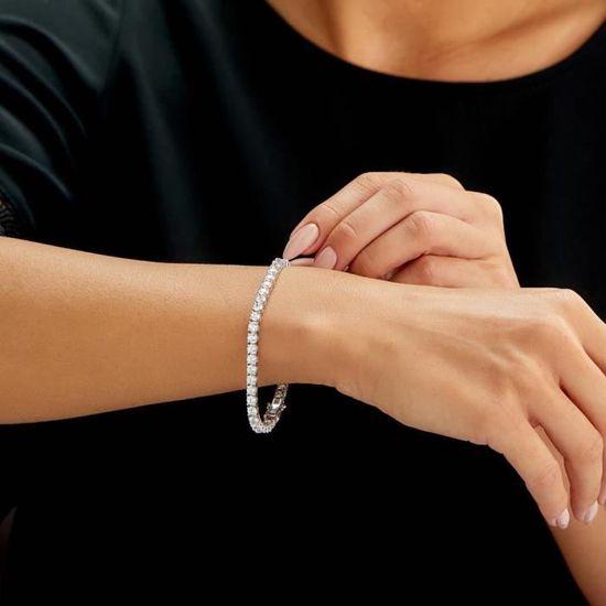 environ 19.81 cm 925 Sterling Argent aigue-marine Tennis Bracelet Pour Femmes plaqué or 7.8 in