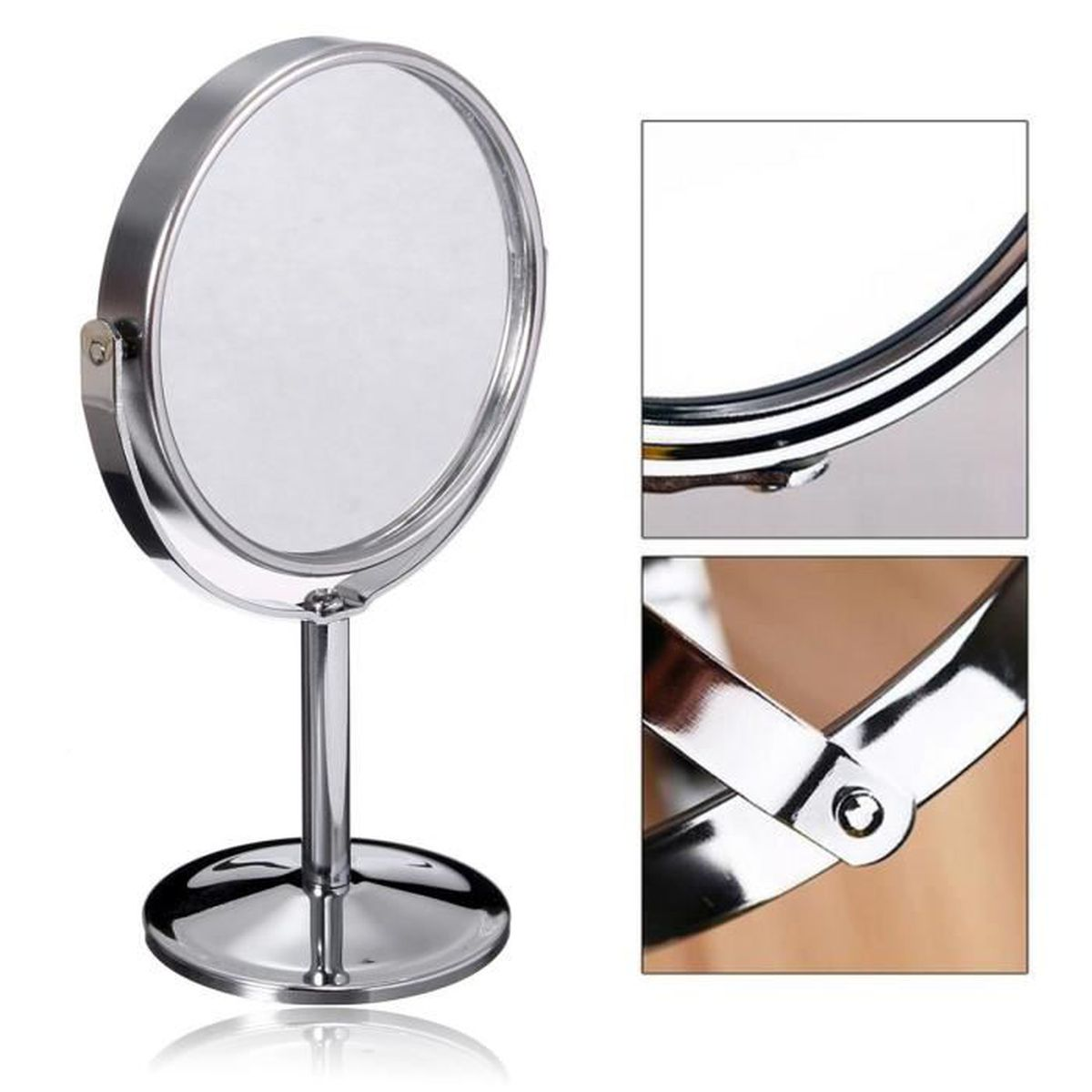 Miroir Rond Maquillage Double Face Support Grossissant Normal