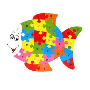 PUZZLE Puzzle de 26 lettres en bois avec animaux Ya-139