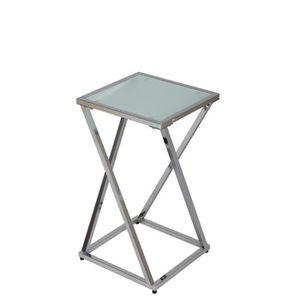 TABLE D'APPOINT Petite sellette en acier et en verre