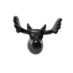 Zoo pat re en forme de t te de renne noir achat vente for Decoration porte renne