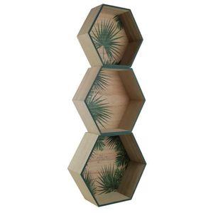 ETAGÈRE MURALE TOTALLY ADDICT Lot de 3 étagères murales hexagonal