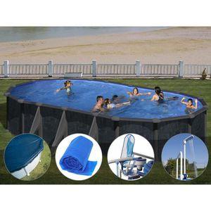 PISCINE Kit piscine acier aspect rotin Gré Rattan ovale 7,