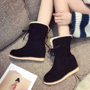 Femmes Cuir Lace-up Plate-Forme Botte En Plein Air Snow Botte Ski Talon Plat Chaussures Casual Noir XKO49 LNJVvLU