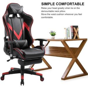 SIÈGE GAMING Chaise Gaming avec repose-pieds rouge