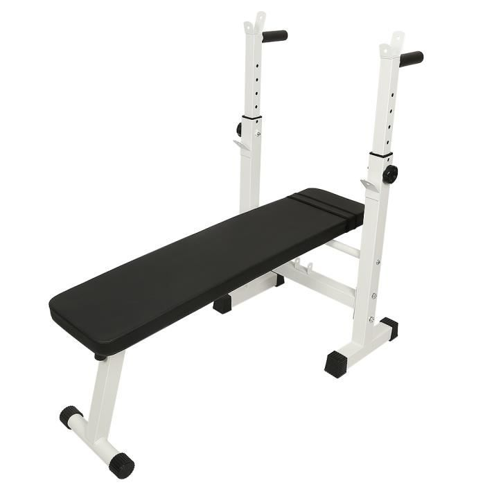 Banc de Musculation Entraînement Pliable - Hauteur Réglable, avec Support pour Haltère et Station à Dips Noir et Blanc