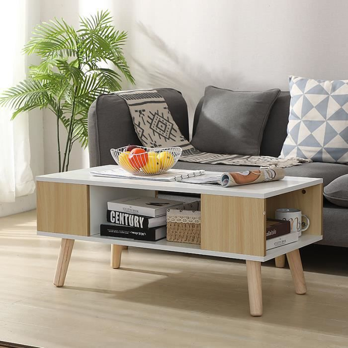 YUDAN Table Basse scandinave Design Vintage Nordique Table de Salon avec Compartiment Latéral en Couleur Jaune