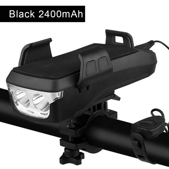 Ensemble d'éclairage de vélo, USB Rechargeable, Eclairage Avant avec klaxon, Support, powerbank pour téléphone -noir,2400mAh