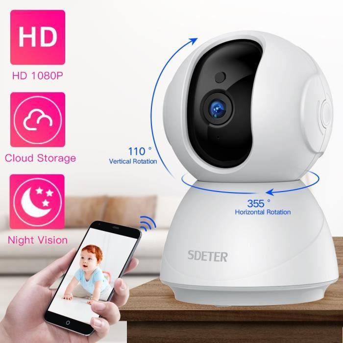 SDETER 1080P 720P IP caméra de sécurité - Caméra de vidéosurveillance WiFi sans fil, Vision nocturne IR, P2P, moniteur de bébé, camé