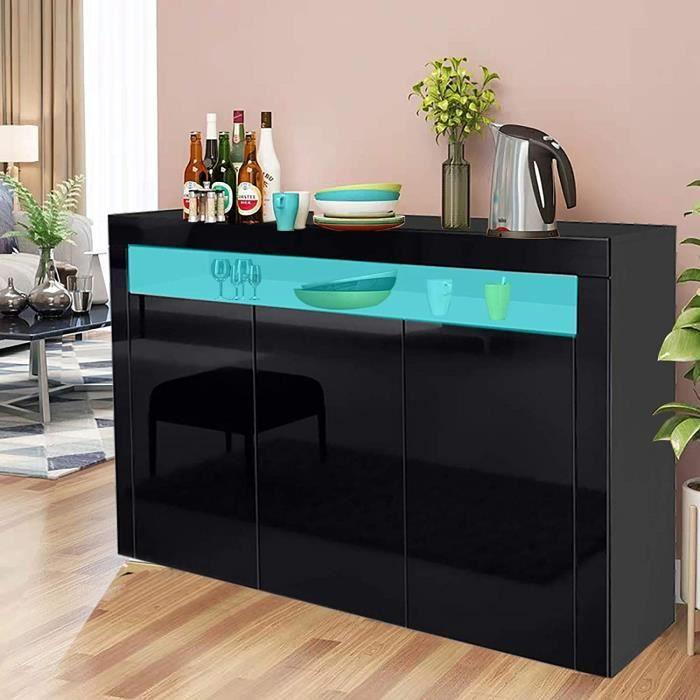 KEEP 130x40x88cm Buffet Bas Contemporain NOIR Laqué Brillant (Avec 3 portes)