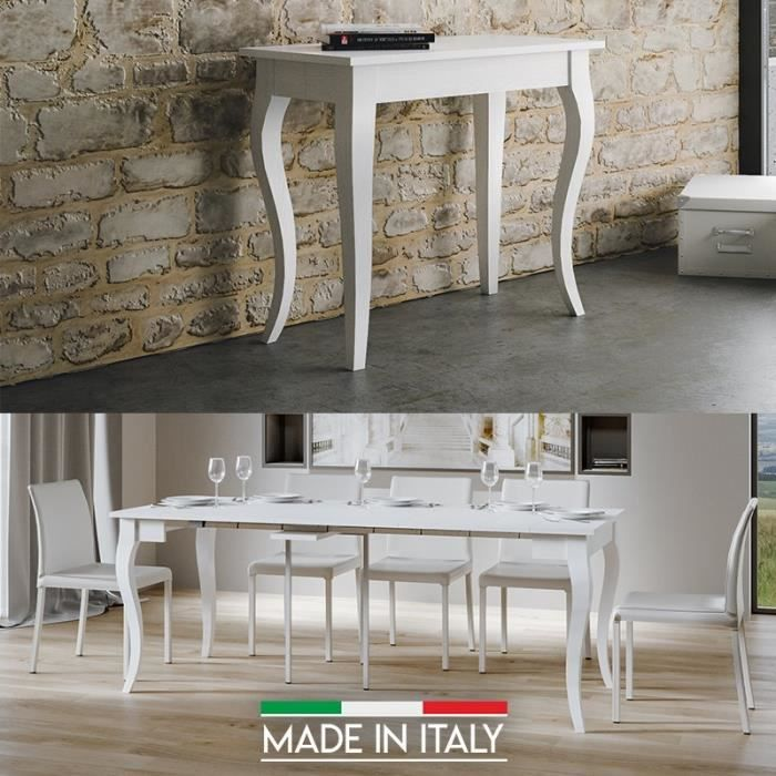 Table Console extensible Olanda - Blanc - 3 Rallonges