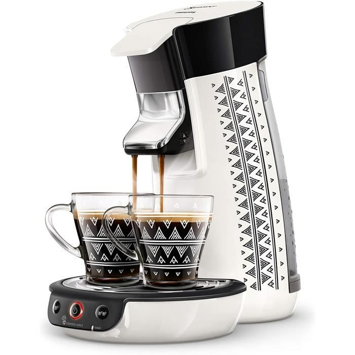 Philips HD6569/14 Machine à Café à Dosettes SENSEO Viva Café Ethnic Blanc + 2 Tasses Ethnic Offertes