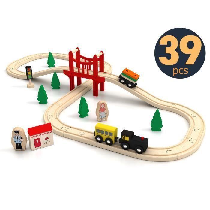 Tiny Land Circuit Train Enfant,Trains et véhicules & Rails Pack(39 pcs), Compatible avec Brio, IKEA