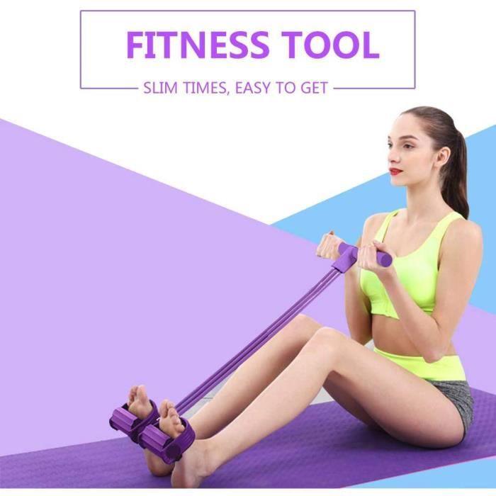Lot de 4 Bandes de résistance Multifonction pour Exercices de Jambes, Yoga, Fitness, pédale de Traction pour Pieds Assis Musculation