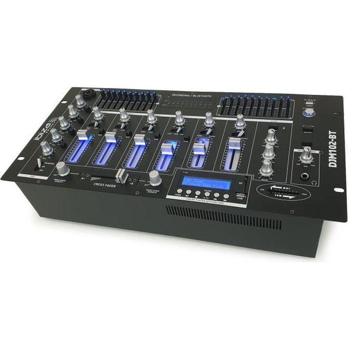 Table de mixage 19- avec 12 entrées - 6 canaux - Bluetooth/USB
