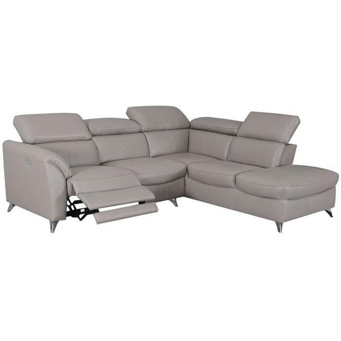 Canapé d'angle droit en cuir supérieur ASTON - Taupe - Droit - Taupe