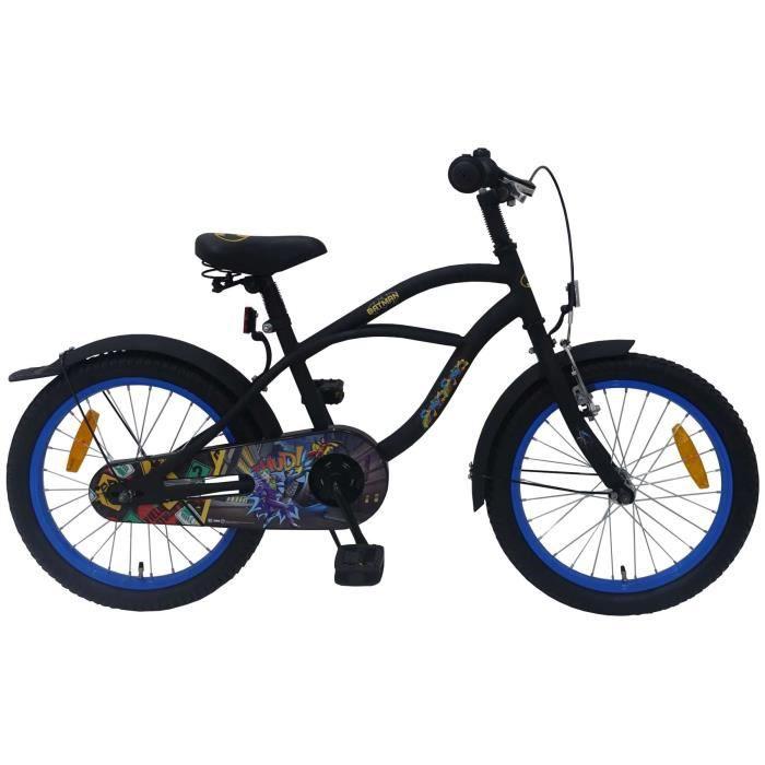 Vélo Enfant Garçon 18 Pouces Batman Frein Avant sur Le Guidon et Arrière à Rétropédalage Noir 95% Assemblé