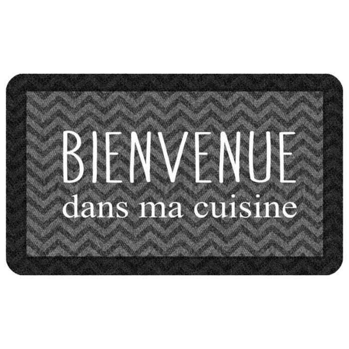 Tapis De Cuisine -kitchen Black- 45x75cm Noir - Paris Prix