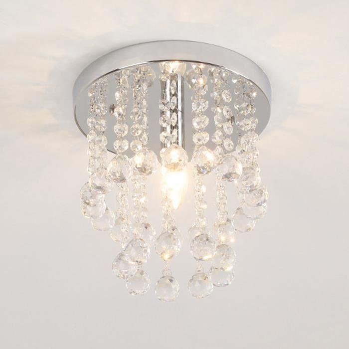 E14 Plafonnier Cristal Moderne Lustre Luminaire Pendentif Plafondu Lumière Pour Salon Chambre Bureau Couloir - 20cm