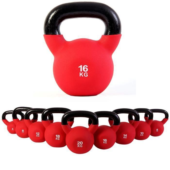 Kettlebell néoprène différents poids + Affiche d´entrainement Poids: 16 kg