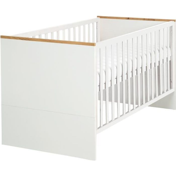 ROBA Lit bébé évolutif -Finn-, 70x140 cm, blanc-nature, réglable en hauteur