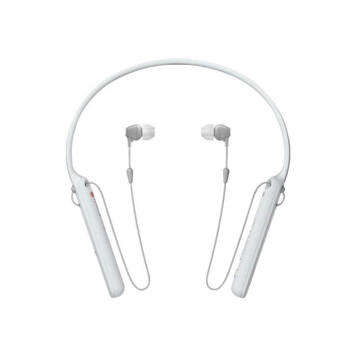 Sony WI-C400 Écouteurs avec micro intra-auriculaire montage derrière le cou sans fil Bluetooth NFC* blanc