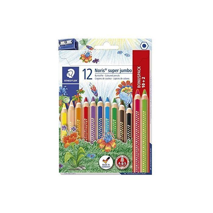 étui de 12 Crayons de couleur triangulaire Noris Club super