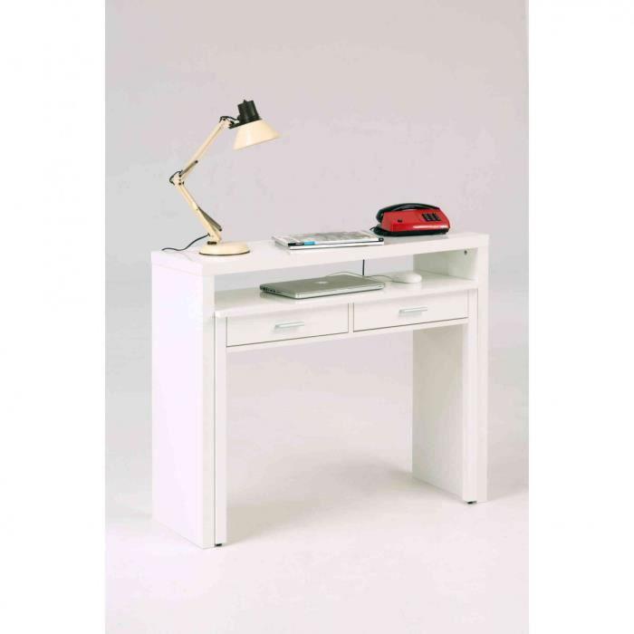 Bureau 2 tiroirs coulissant en bois blanc laqué - BU002 - Blanc - Terre de Nuit