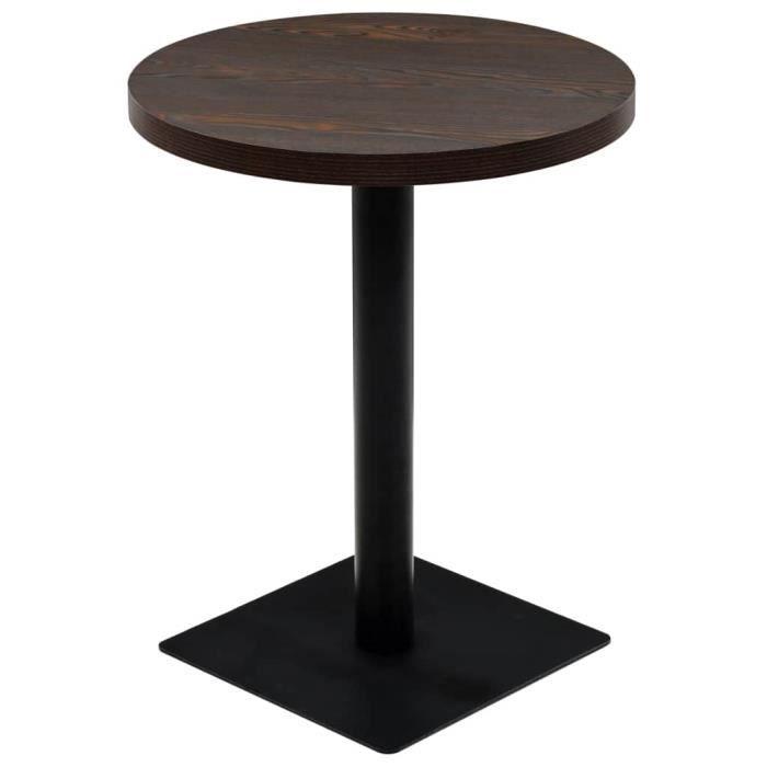 Table de bistro MDF - acier Rond 60 x 75 cm Frêne foncé | Brun - Meubles-Tables-Tables de salle à manger - de cuisine | Brun | Brun