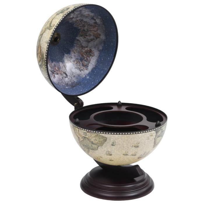 Superbe Luxueux :48089: Support de vin Cave à vin globe de dessus de table Bois d'eucalyptus Vert