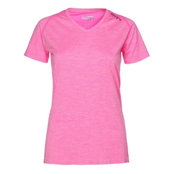 HAPPY & SO T-Shirt Seamless - Femme - Rose fluo et Gris