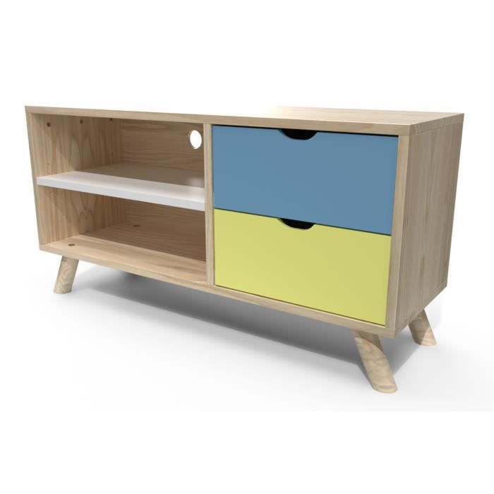 meuble tv scandinave viking bleu pastel jaune blanc bleu pastel jaune blanc achat vente. Black Bedroom Furniture Sets. Home Design Ideas