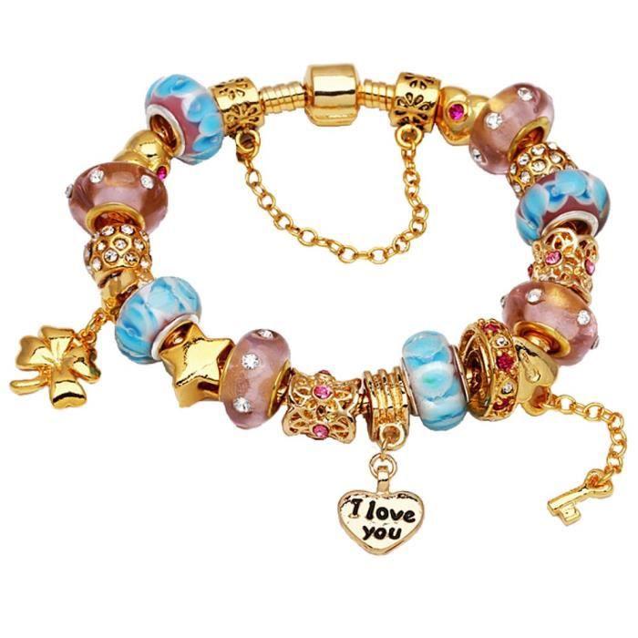 Bracelet E2DNH Style Pandora à breloques avec des