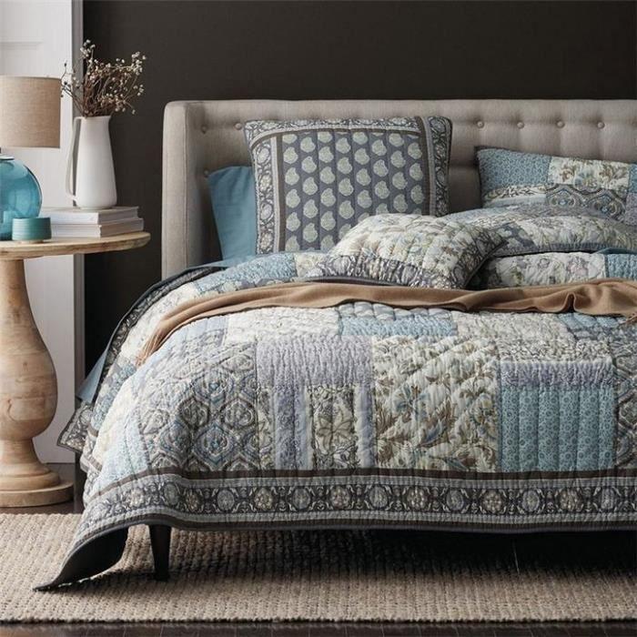 JETÉE DE LIT - BOUTIS AIVEDO 100% Coton Luxueux Véritable patchwork Couv